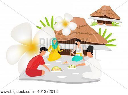 Indonesians Flat Vector Illustration. Muslim Woman. Friends Sit Nearby. Picnic Near Hut. Asian Cultu