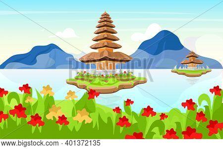 Pura Ulun Danu Bratan Flat Vector Illustration. Hindu Shaivite Water Temple On Bali. Indonesia Tradi