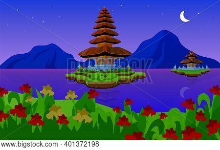 Pura Ulun Danu Bratan Flat Vector Illustration. Hindu Shaivite Water Temple On Bali. Night. Temple C