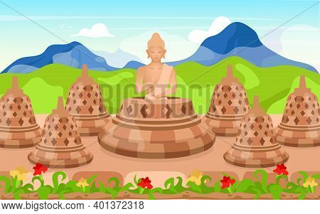 Buddha Flat Vector Illustration. Religious Sculpture. Place Of Worship In Mountains. Meditating Pose