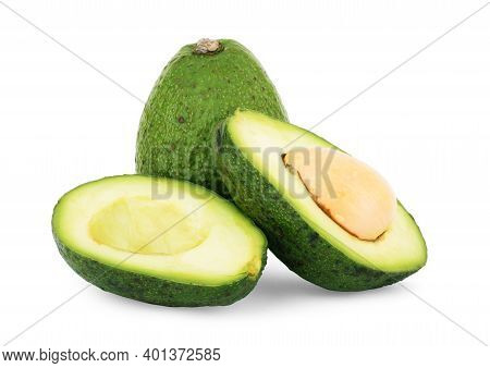 Avocado Isolated On A White Background Freshness, Isolate, Slice, Crops, Isolated, Ripe, Cut, Fruit