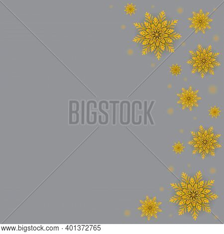 Winter Glowing Dots And Golden Snowflakes On Grey Background. Celebrations Greeting Card. Jpeg Illus