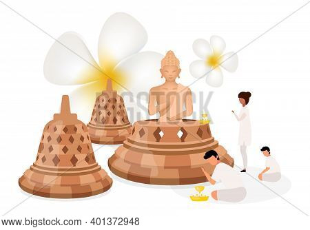 Place Of Worship Flat Vector Illustration. Buddha Religious Sculpture. Indonesian Religion. Buddhism