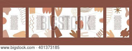 Flat Vector Set Of Templates With Abstract Shapes. Abstract Background With Space For Text In Scandi