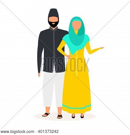 Indonesians Flat Vector Illustration. Muslim Couple. Woman In Hijab And Yellow Dress. Asian Culture.