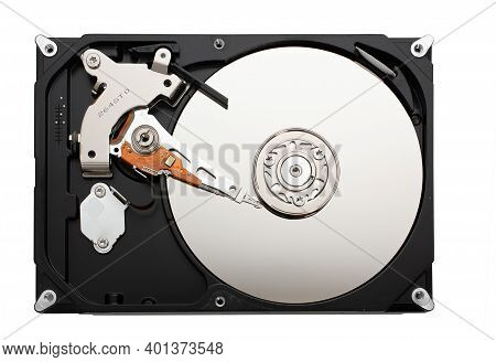 Computer Hard Disk Inside View With Mirrored Blank Disks On Which Data Is Recorded And A Magnetic He