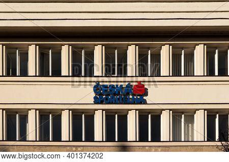 Prague, Czech Republic, 12-30-2020. Ceska Sporitelna, One Strongest Czech Banks In The Czech Republi