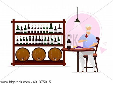Man In Wine Cellar Flat Color Vector Illustration. Winemaking, Vinification. Winemaker With Glassful