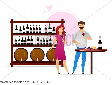 Couple In Wine Cellar Flat Color Vector Illustration. Winemaking, Vinification. Man And Woman With G