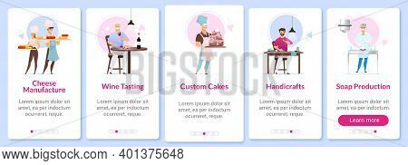 Manufacturing Onboarding Mobile App Screen Vector Template. Cheesemaking, Wine Tasting. Custom Cakes