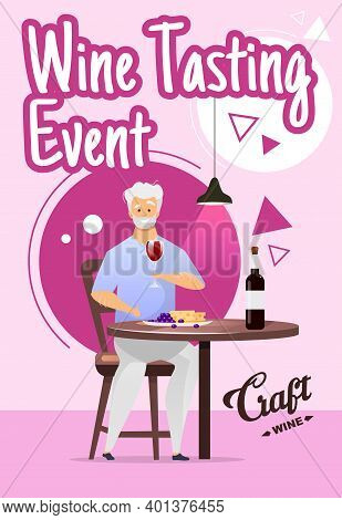 Wine Tasting Event Poster Vector Template. Winemaking. Winery. Degustation. Brochure, Cover, Booklet