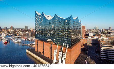 Famous Hamburg Concert Hall Elbphilharmonie In The Harbour - Hamburg, Germany - December 25, 2020