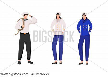 Maritime Occupation Flat Vector Illustration. Marine Professions. Passenger Fleet. Sailor And Captai