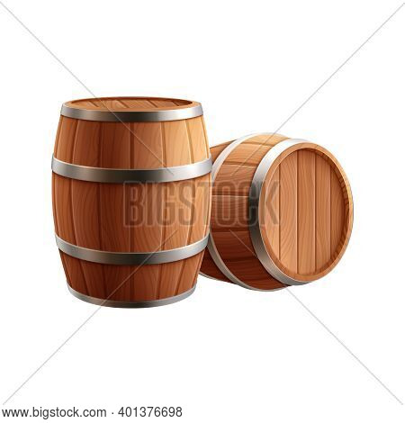Beer Realistic Composition With View Of Two Wooden Barrels For Storing Beer Vector Illustration