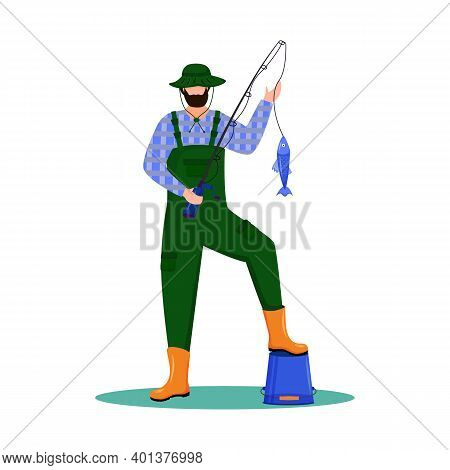 Fisherman Flat Vector Illustration. Sport, Active Leisure. Maritime Occupation. Fisher With Fishing