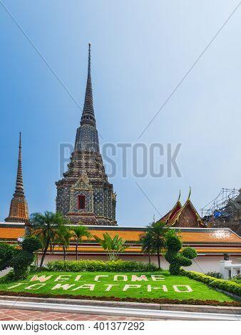 Wat Pho Public Ancient Temple In Bangkok, Thailand. Thai Architecture Beautiful View, Mosaic Chedi A