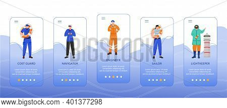 Maritime Professions Onboarding Mobile App Screen Vector Template. Coast Guard, Engineer And Navigat