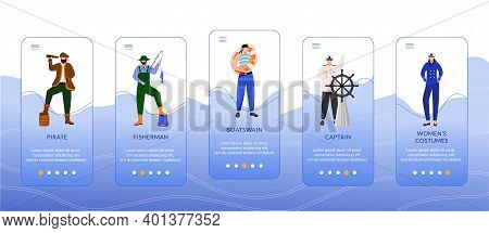 Maritime Professions Onboarding Mobile App Screen Vector Template. Captain And Fisherman. Women Cost