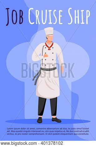 Job Cruise Ship Poster Vector Template. Ocean Liner Professional Cook, Chef. Crew Member. Brochure,