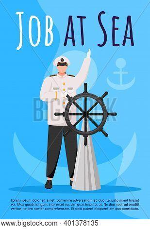 Job At Sea Poster Vector Template. Maritime Career. Ship Captain At Steering Wheel. Brochure, Cover,