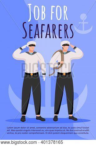 Job For Seafarers Poster Vector Template. Maritime Career. Sailors. Ship Crew Members. Brochure, Cov