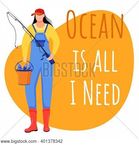 Ocean Is All I Need Social Media Post Mockup. Fisherwoman, Fisher. Maritime Quote. Web Banner Design