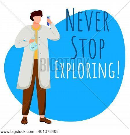 Never Stop Exploring Social Media Post Mockup. Maritime Scientist. Motivational Saying. Web Banner D
