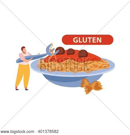 Gluten Intolerance Flat Concept With Man And Plate Of Pasta Vector Illustration