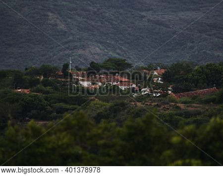 Panoramic View Of Colombian Town Village Guane Seen From Barichara Santander Colombia South America