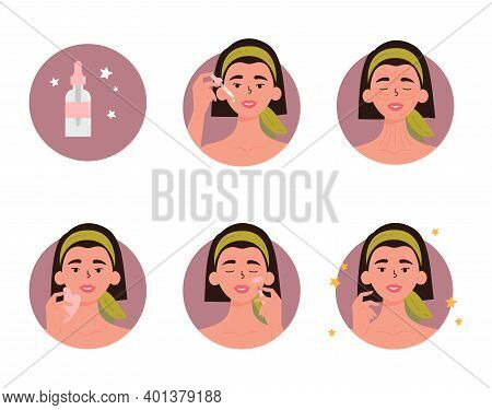 Woman With Bottle Of Face Oil, Facial Gua Sha Stone And Roller. Instructions For Facial Massage With