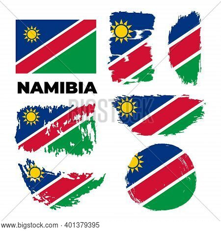 Happy Independence Day Of Namibia.brush Painted Grunge Flag Of Namibia Country.