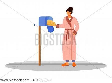 Woman In Bathrobe Receives Post Flat Color Vector Illustration. Getting Parcels From Mailbox. Delive
