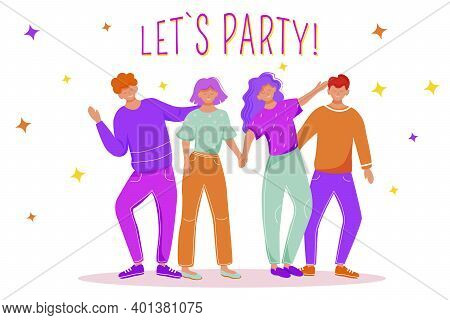 Let Party Flat Vector Illustration. Men And Women Have Fun On Dance Floor. Joyful Celebration With F
