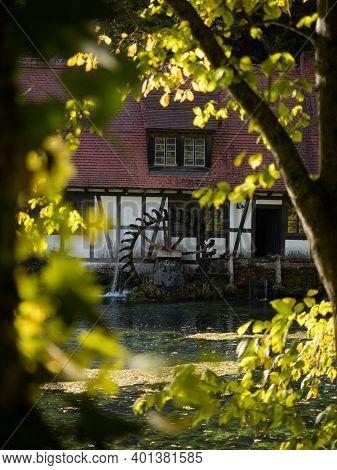 Half-timbered House Mill Blautopfhaus At Blue Turquoise Freshwater Spring Blautopf In Blaubeuren Bad