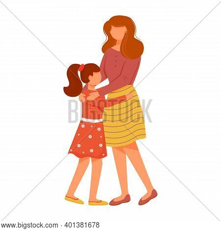 Lovely Mom With Daughter Flat Vector Illustration. Close Family Relationships. Little Girl Greeting