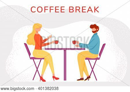 Coffee Break Flat Vector Illustration. Man And Woman In Cafe Drinking Hot Tea During Work Pause. Off