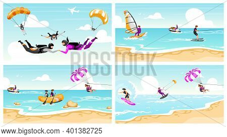 Extreme Sport Flat Vector Illustrations Set. Couple Skydiving, Surfing, Parachuting. Beach Fun Activ