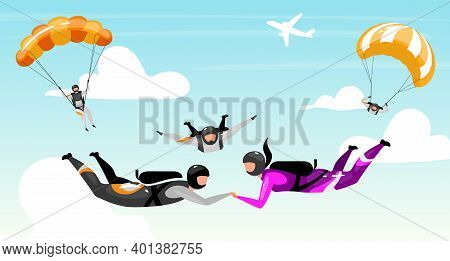 Skydiving Flat Vector Illustration. Couple Outdoor Activities. Extreme Sports. Teamwork Parachuting.