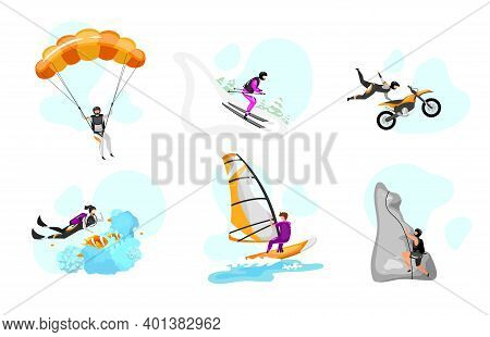 Extreme Sport Flat Vector Illustrations Set. Parachuting, Hang Gliding. Surfing, Scuba Diving. Downh