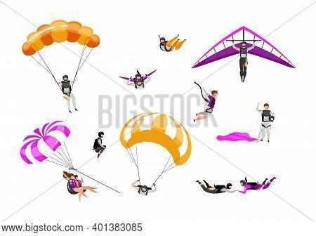 Extreme Air Sport Flat Vector Illustrations Set. Couple Paragliding, Skydiving, Parasailing. Parachu