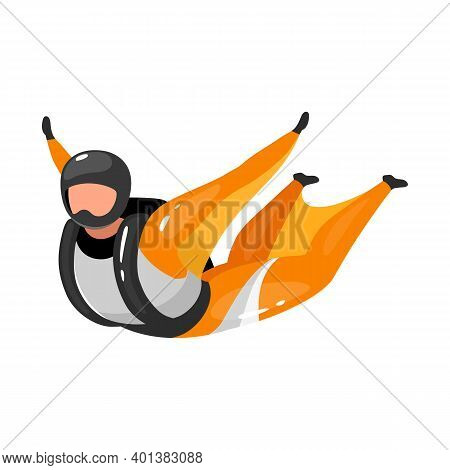 Wingsuit Flying Flat Vector Illustration. Freefalling, Skydiving Experience. Extreme Sports. Active
