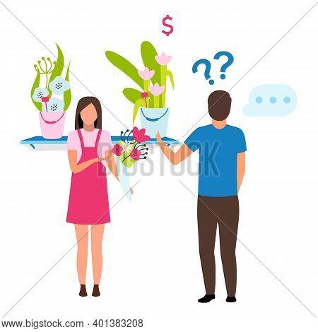 Man Choosing Bouquet Flat Vector Illustration. Female Florist In Apron Helping Customer In Flower Sh