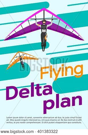 Flying Delta Plan Poster Vector Template. Skydiving, Hang Gliding. Brochure, Cover, Booklet Page Con