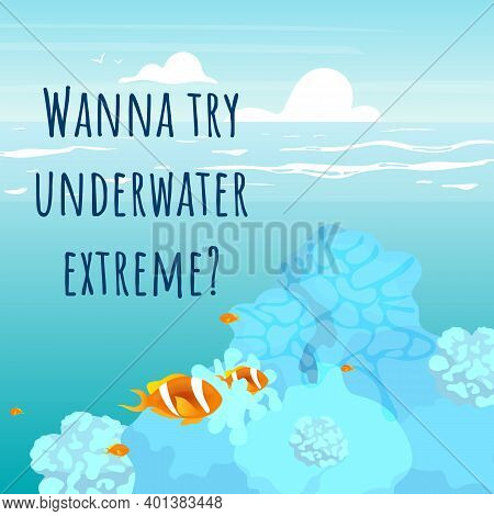 Wanna Try Underwater Extreme Social Media Post Mockup. Motivational Web Banner Design Template. Soci