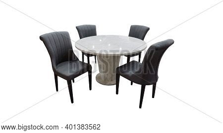 Dining Table And Chairs Isolated On White Background. Luxurious Round Marble Top Dining Table With F