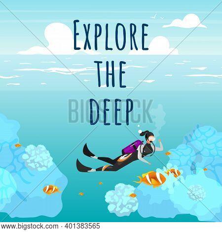 Explore The Deep Social Media Post Mockup. Underwater Reefs. Advertising Web Banner Design Template.