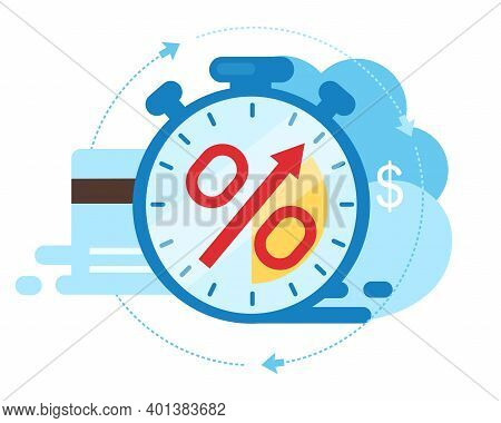 Invoice Payment Term Flat Vector Illustration. Time Is Money Cartoon Concept. Investment Period Isol