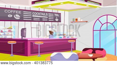 Coffeehouse Interior Flat Vector Illustration. Cozy Cafe With Trendy Chairs, Tables And Vintage Arch