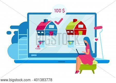 Woman Choose House Flat Vector Illustration. Customer Select Townhouse Color Cartoon Character. Desi