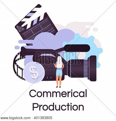 Commercial Production Flat Concept Icon. Videography, Photography And Filmmaking Sticker, Clipart. T